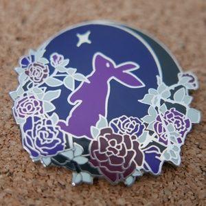 Night Rabbit Enamel Pin